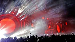 Red AFP stage with white fog